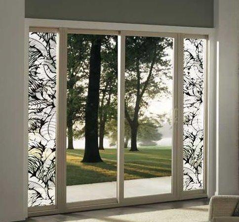 Attractive Tropical Leaves Sliding Glass Door | Static Cling   Window Film World ...