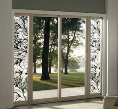 Etched Glass Tropical Sliding Glass Door and Sidelight Film - Window Film World