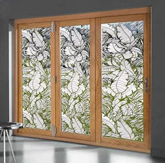 Tropical Leaves Sliding Glass Door | Static Cling - Window Film World & Static Cling Window Film | Privacy Stained Glass Decorative Frosted