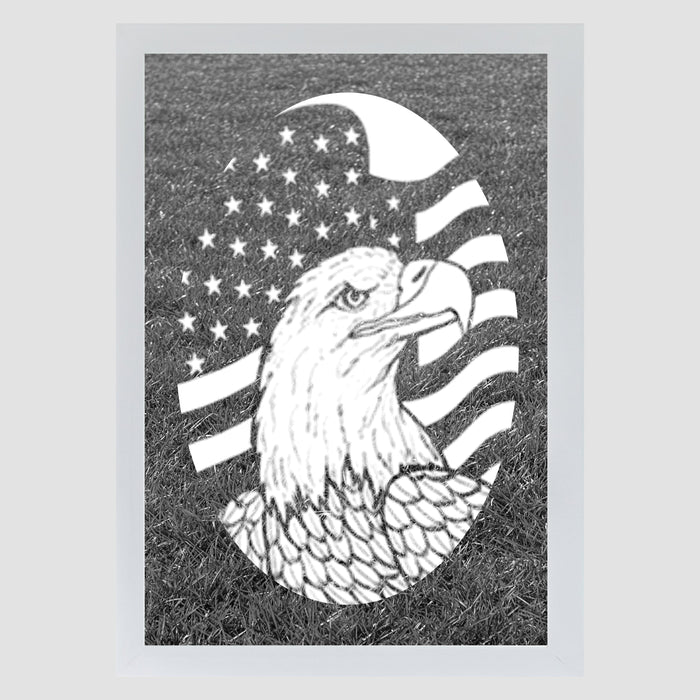 Vertical Flag Etched Eagle  (Static Cling)