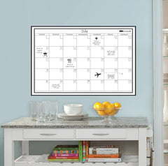 White Monthly Dry Erase Calendar Decal - Window Film World