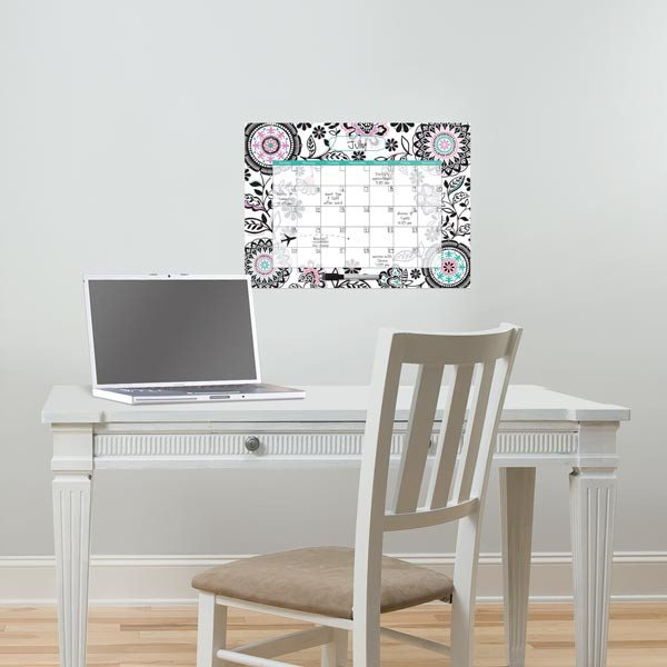 Floral Medley Monthly Dry Erase Calendar Decal - Window Film World