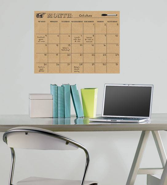 Kraft Monthly Dry Erase Calendar Decal - Window Film World
