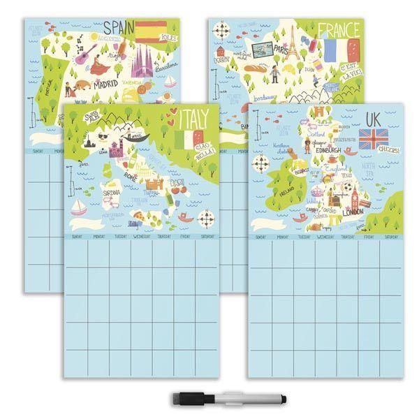 Bon Voyage 4 Piece Dry Erase Calendar Decal Kit - Window Film World