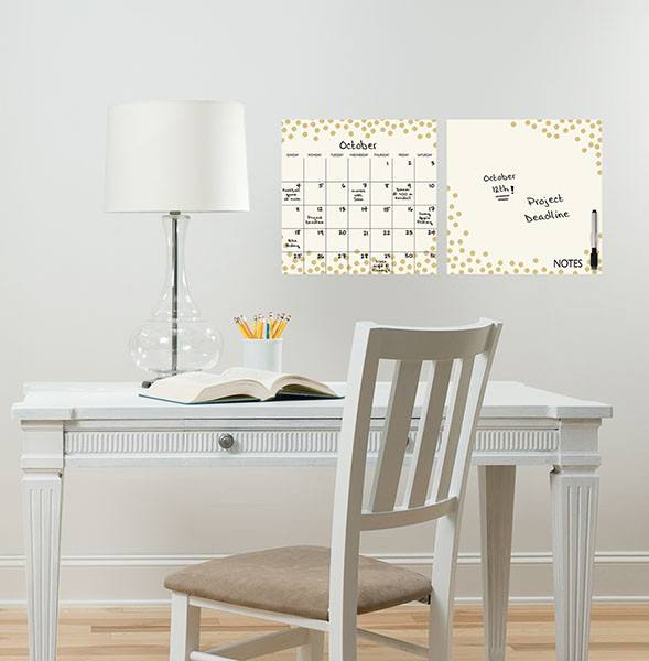 Gold Confetti Dry Erase Calendar and Message Board Set - Window Film World