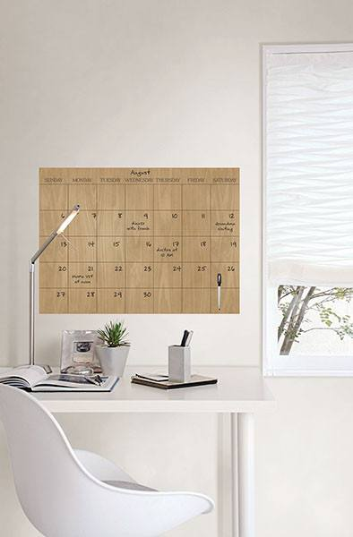 Hardwood Dry Erase Monthly Calendar 17.5 x 24 - Window Film World
