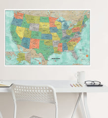 Aquarelle US Dry Erase Map - Window Film World