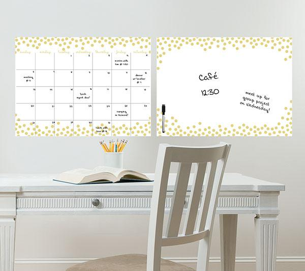Gold Confetti Monthly Calendar and Message Board Combo - Window Film World