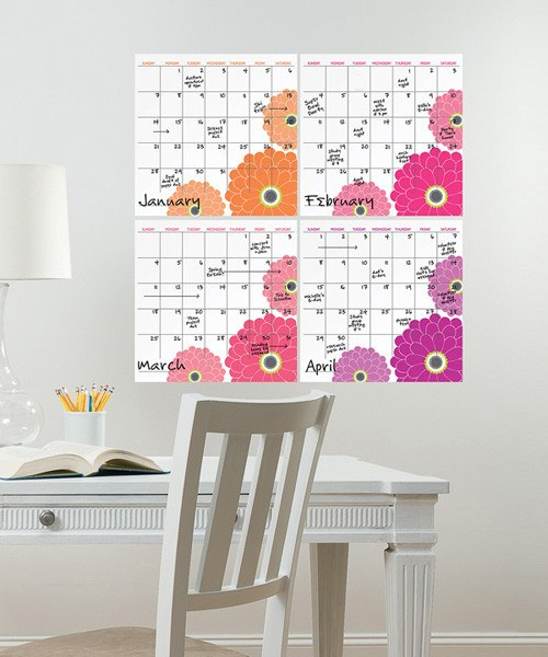 Zinnia 4 Piece Dry Erase Calendar Decal Kit - Window Film World