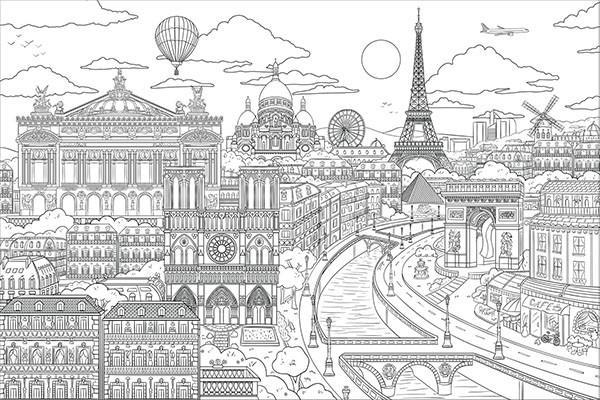 Visite Paris Coloring Wall Decal - Window Film World
