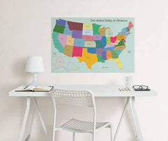 USA Map Coloring Wall Decal - Window Film World