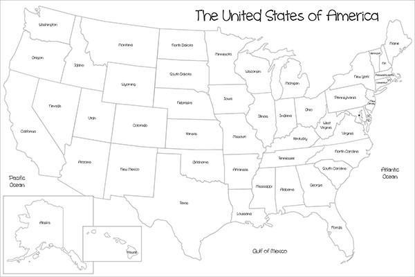 Coloring Map Of Usa USA Map Coloring Wall Decal– Window Film World
