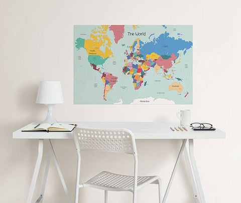 World Map Coloring Wall Decal - Window Film World