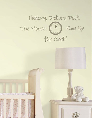 Hickory Dickory Dock - Wall Decal Quotes - Window Film World