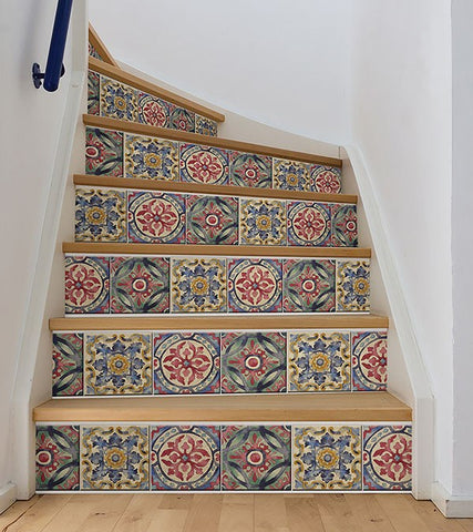 Iznik Tile Stair Stripe Decal - Window Film World