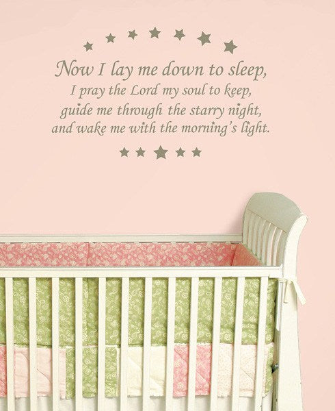 Now I Lay me Down - Wall Decal Quotes - Window Film World