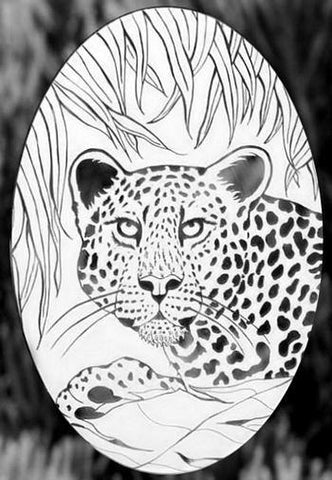 "Oval Leopard Etched Glass Decals (4""X6"")"