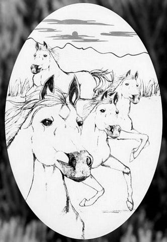 Oval Wild Horses Etched Glass Decals