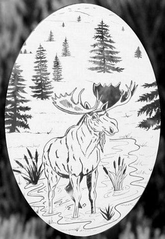 Oval Moose Scene Etched Glass Decals
