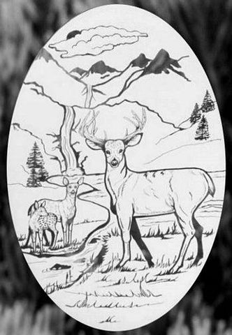 Oval Deer Scene Etched Glass Decals
