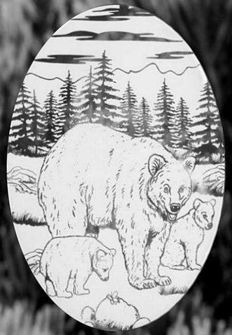 Oval Bear Etched Glass Decals