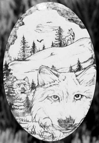 Oval Wolf Etched Glass Decals