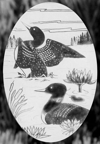 Oval Loon Etched Glass Decals - Window Film World