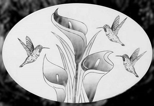 Oval Lily and Hummingbird Horizontal | Static Cling - Window Film World