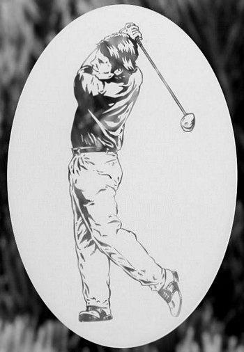 Oval Golfer Male Or Female Static Cling
