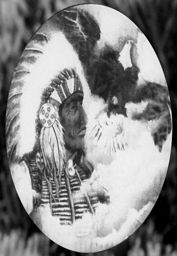 Oval Native American Chief | (Static Cling) - Window Film World