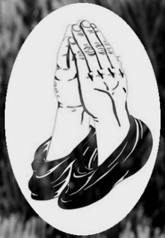 Oval Praying Hands Etched Glass Decals
