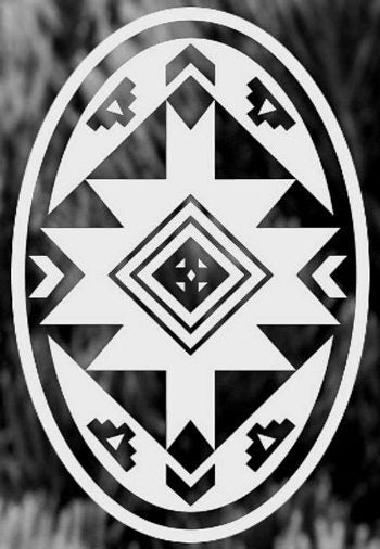 Native American Design Oval Decal Static Cling