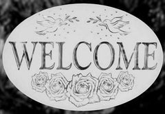 Oval Etched Glass Welcome Decal - Window Film World