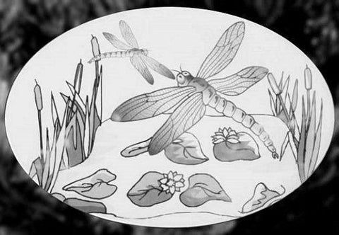 Oval Dragonfly Etched Scene Decal - Window Film World