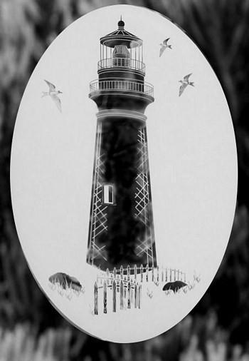 Oval Lighthouse Etched Glass Decals - Window Film World