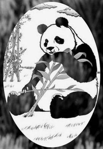 "Oval Panda Bear Etched Glass Decal (4""X6"")"