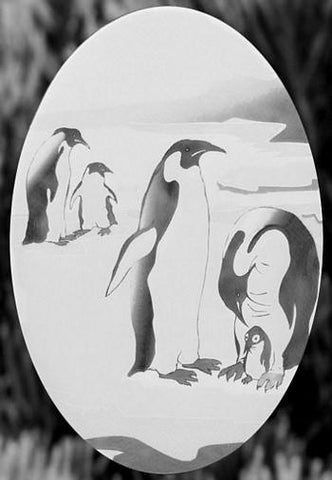 "Oval Penguin Etched Glass Decal(4""X6"") - Window Film World"