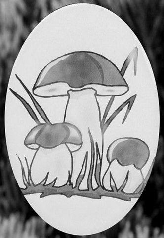 "Oval Mushroom Etched Glass Decal (4""X6"") - Window Film World"