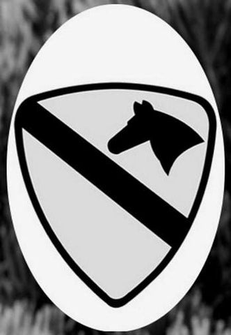 "Oval Cavalry Etched Glass Decal (4""X 6"")"