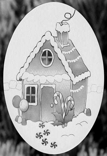 "Oval Gingerbread House Etched Glass Decal (4""X6"") - Window Film World"