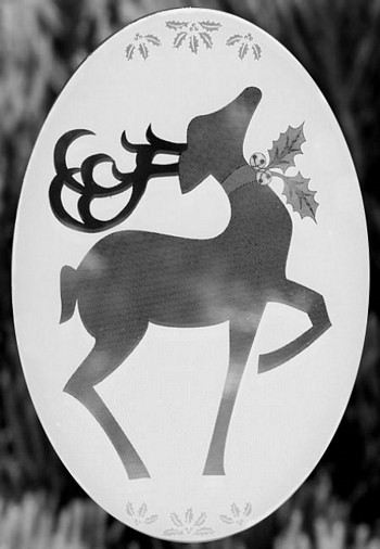 Oval Reindeer Etched Glass Decal - Window Film World
