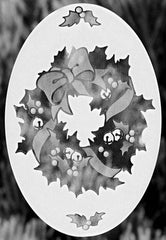 "Oval Christmas Wreath Etched Glass Decal (4""X6"") - Window Film World"