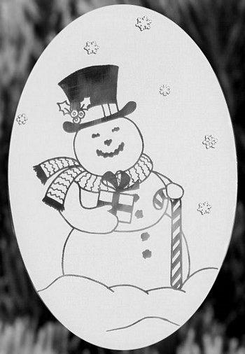 "Oval Snowman Etched Glass Decal (4""X6"") - Window Film World"