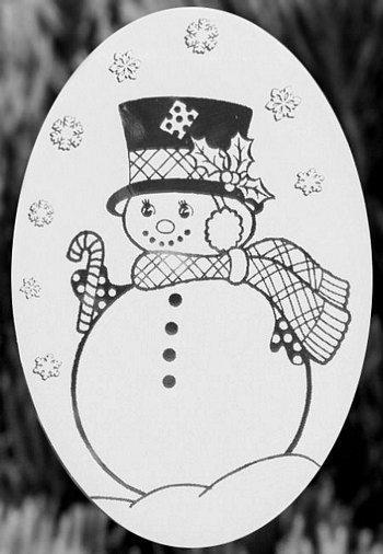 "Oval Snow Lady Etched Glass Decal (4""X6"") - Window Film World"