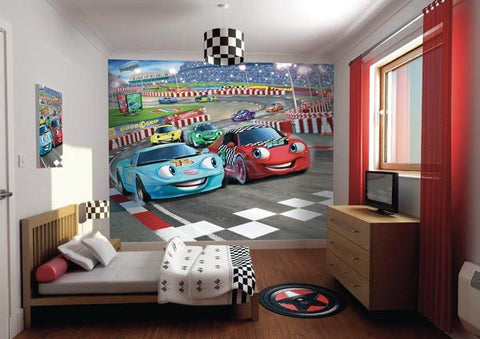 Car Racers Wall Mural - Window Film World