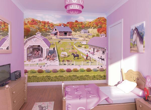 Horse And Pony Stables Wall Mural - Window Film World