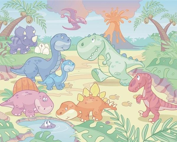 Baby Dino World Adhesive Wall Mural - Window Film World