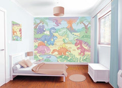 Baby Dino World Wall Mural | (Adhesive) - Window Film World