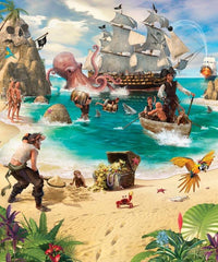 Pirate And Treasure Adventure Wall Mural - Window Film World