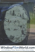 Oval Wolf Etched Glass Decal | (Static Cling) - Window Film World